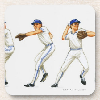 Baseball pitching technique, multiple image beverage coaster