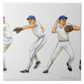 Baseball pitching technique, multiple image large square tile