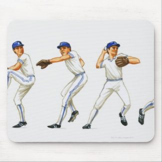 Baseball pitching technique, multiple image mouse pad