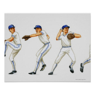 Baseball pitching technique, multiple image poster