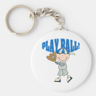 Baseball Play Ball Basic Round Button Keychain
