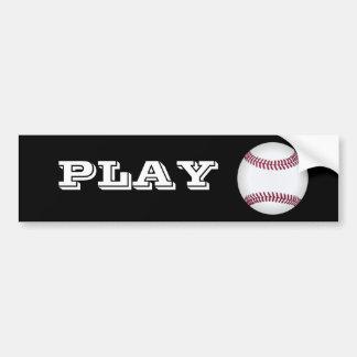 Baseball Play Ball Bumper Sticker (Black)