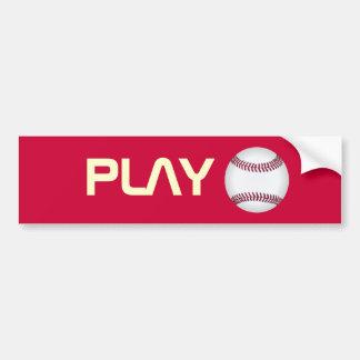 Baseball Play Ball Mod Bumper Sticker (Red)