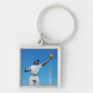 baseball player (16-20) catching ball in keychain