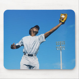 baseball player (16-20) catching ball in mouse pad