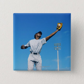 baseball player (16-20) catching ball in pinback button