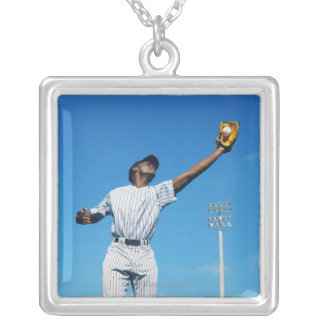 baseball player (16-20) catching ball in silver plated necklace