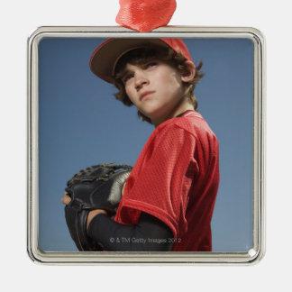 Baseball player 2 square metal christmas ornament