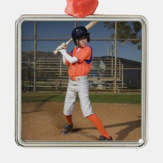 Baseball player 3 metal ornament