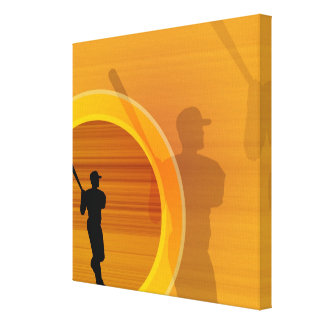 Baseball player about to swing, silhouette canvas print