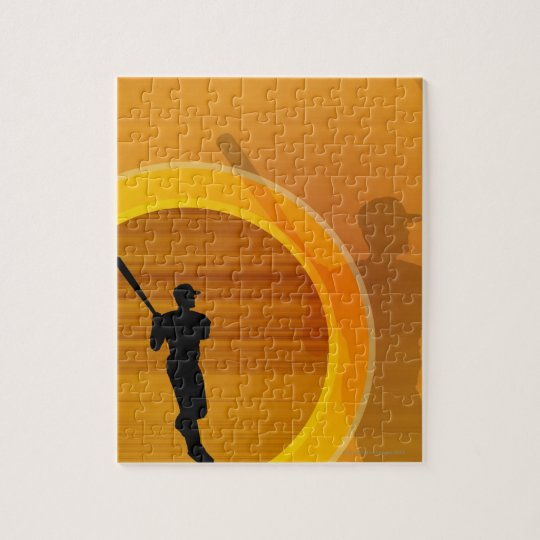Baseball player about to swing, silhouette jigsaw puzzle