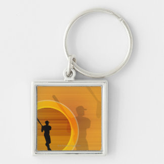 Baseball player about to swing, silhouette Silver-Colored square keychain