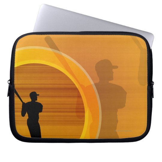 Baseball player about to swing, silhouette laptop sleeve