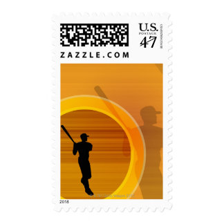 Baseball player about to swing, silhouette postage