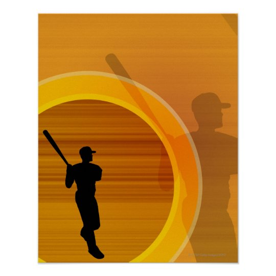 Baseball player about to swing, silhouette poster