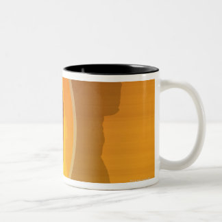 Baseball player about to swing, silhouette Two-Tone coffee mug