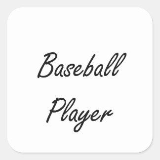 Baseball Player Artistic Job Design Square Sticker