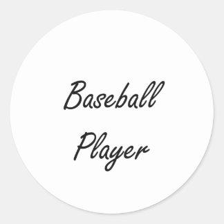 Baseball Player Artistic Job Design Classic Round Sticker