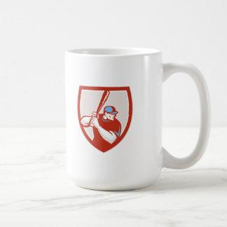 Baseball Player Batter Hitter Shield Retro Coffee Mug