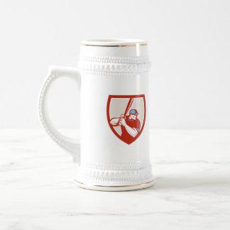 Baseball Player Batter Hitter Shield Retro Coffee Mugs