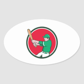 Baseball Player Batter Swinging Bat Circle Cartoon Oval Sticker