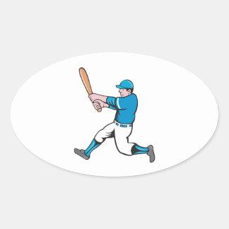 Baseball Player Batter Swinging Bat Isolated Carto Oval Sticker