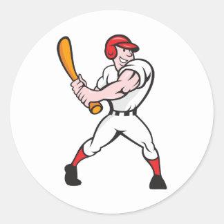 Baseball Player Batting Cartoon Classic Round Sticker