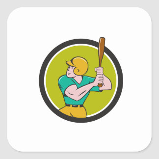 Baseball Player Batting Circle Cartoon Square Sticker