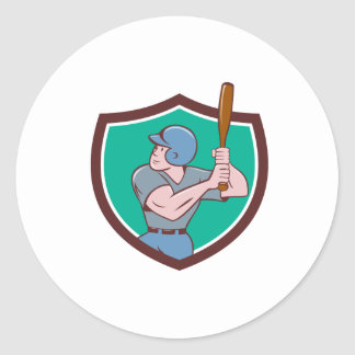 Baseball Player Batting Crest Cartoon Classic Round Sticker