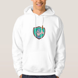 Baseball Player Batting Crest Cartoon Hoodie