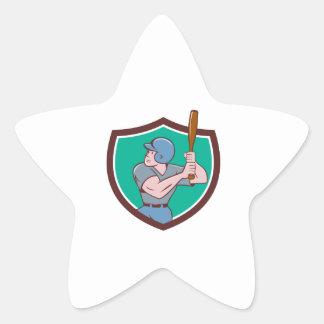 Baseball Player Batting Crest Cartoon Star Sticker