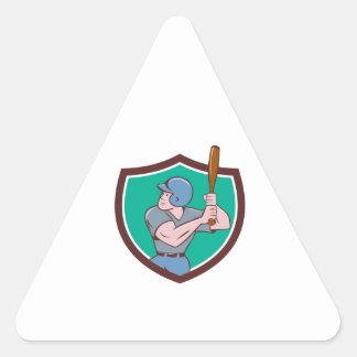 Baseball Player Batting Crest Cartoon Triangle Sticker