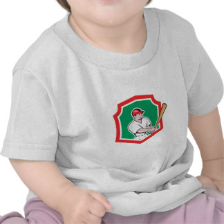 Baseball Player Batting Crest Cartoon Shirt
