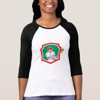 Baseball Player Batting Crest Cartoon T Shirt