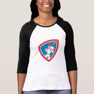 Baseball Player Batting Crest Red Cartoon Tee Shirt
