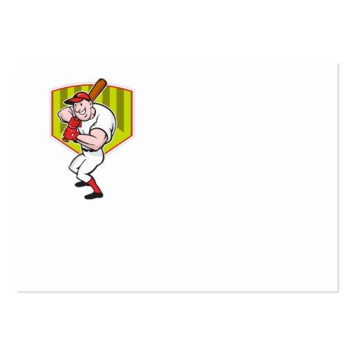 Baseball Player Batting Diamond Cartoon Business Card Template