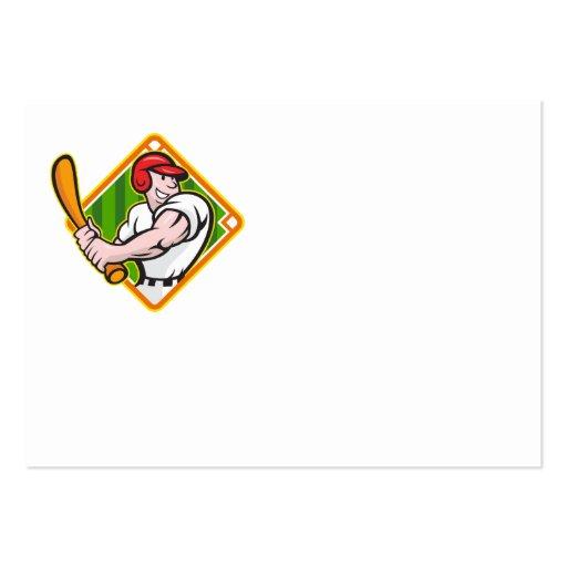 Baseball Player Batting Diamond Cartoon Business Cards