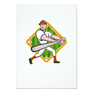 Baseball Player Batting Diamond Cartoon Card