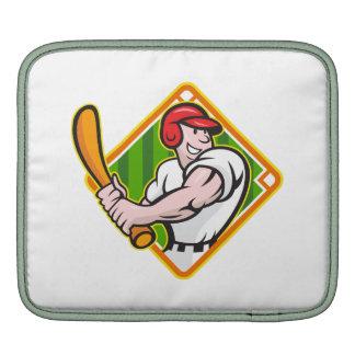 Baseball Player Batting Diamond Cartoon iPad Sleeves