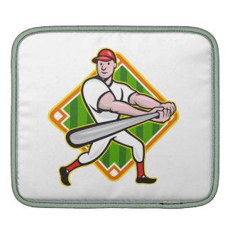 Baseball Player Batting Diamond Cartoon iPad Sleeve