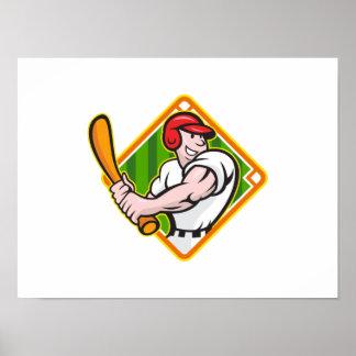 Baseball Player Batting Diamond Cartoon Poster