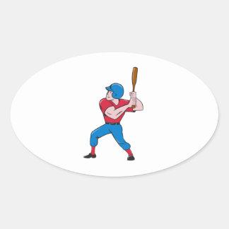 Baseball Player Batting Isolated Cartoon Oval Sticker