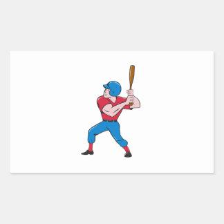Baseball Player Batting Isolated Cartoon Rectangular Sticker