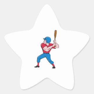 Baseball Player Batting Isolated Cartoon Star Sticker