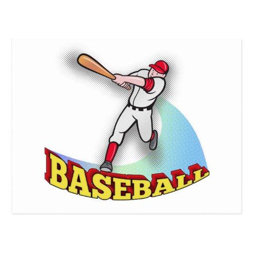 baseball player batting postcard