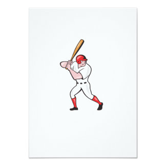 Baseball Player Batting Side Isolated Cartoon Card