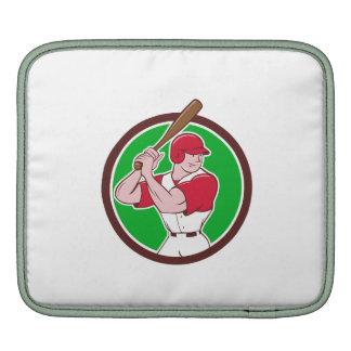 Baseball Player Batting Stance Circle Cartoon iPad Sleeve