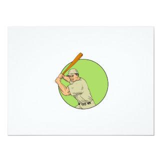 Baseball Player Batting Stance Circle Drawing Card
