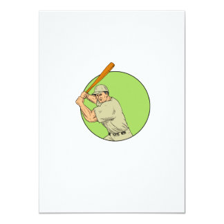 Baseball Player Batting Stance Circle Drawing Card