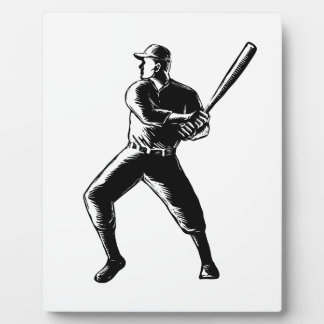 Baseball Player Batting Woodcut Black and White Plaque